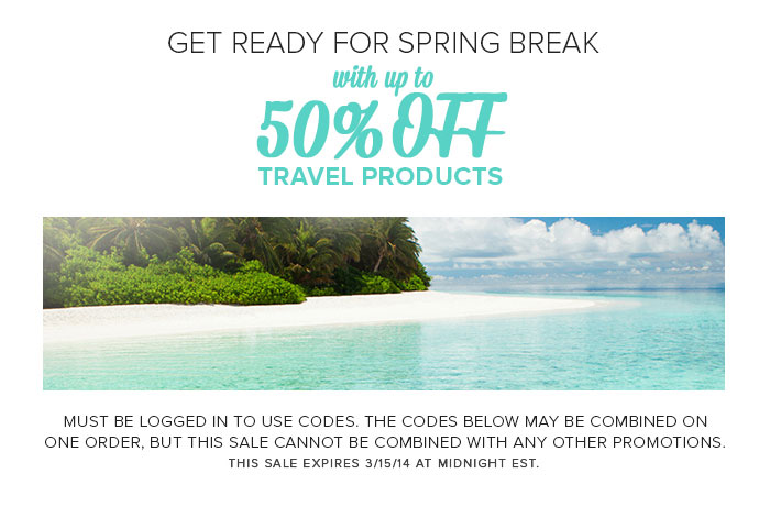 Get Ready for Spring Break - with up to 50% OFF travel products