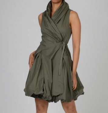 Elan Women's Cotton Wrap-front Bubble-hem Dress (olive, L)