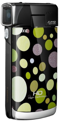 DXG Luxe Pocket Camcorder, Polka Dots Green, 5C2VG4HD