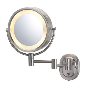 Jerdon Eclipse 8' Lighted Wall Mount Mirror, 5X-1X Magnification