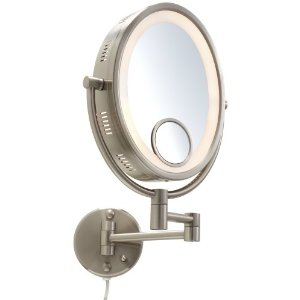 Jerdon Oval Halo Light Wall Mount Mirror 10X-1X Magnification