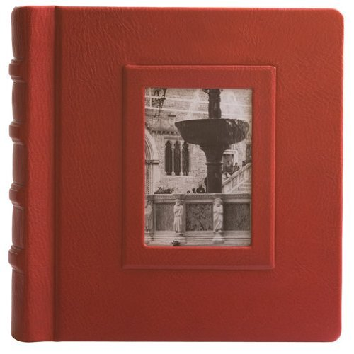 Eccolo Made in Italy Firenze Collection Fontana Red Leather Album Scrapbook With 30 Ivory Pages, 10