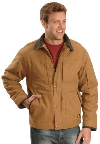 Dickies Men's Sanded Duck Sherpa Lined Jacket, Brown Duck, Large Regular