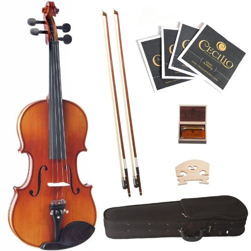 Cecilio 1/4 CVN-320L Left-Handed Ebony Fitted Solid Wood Violin