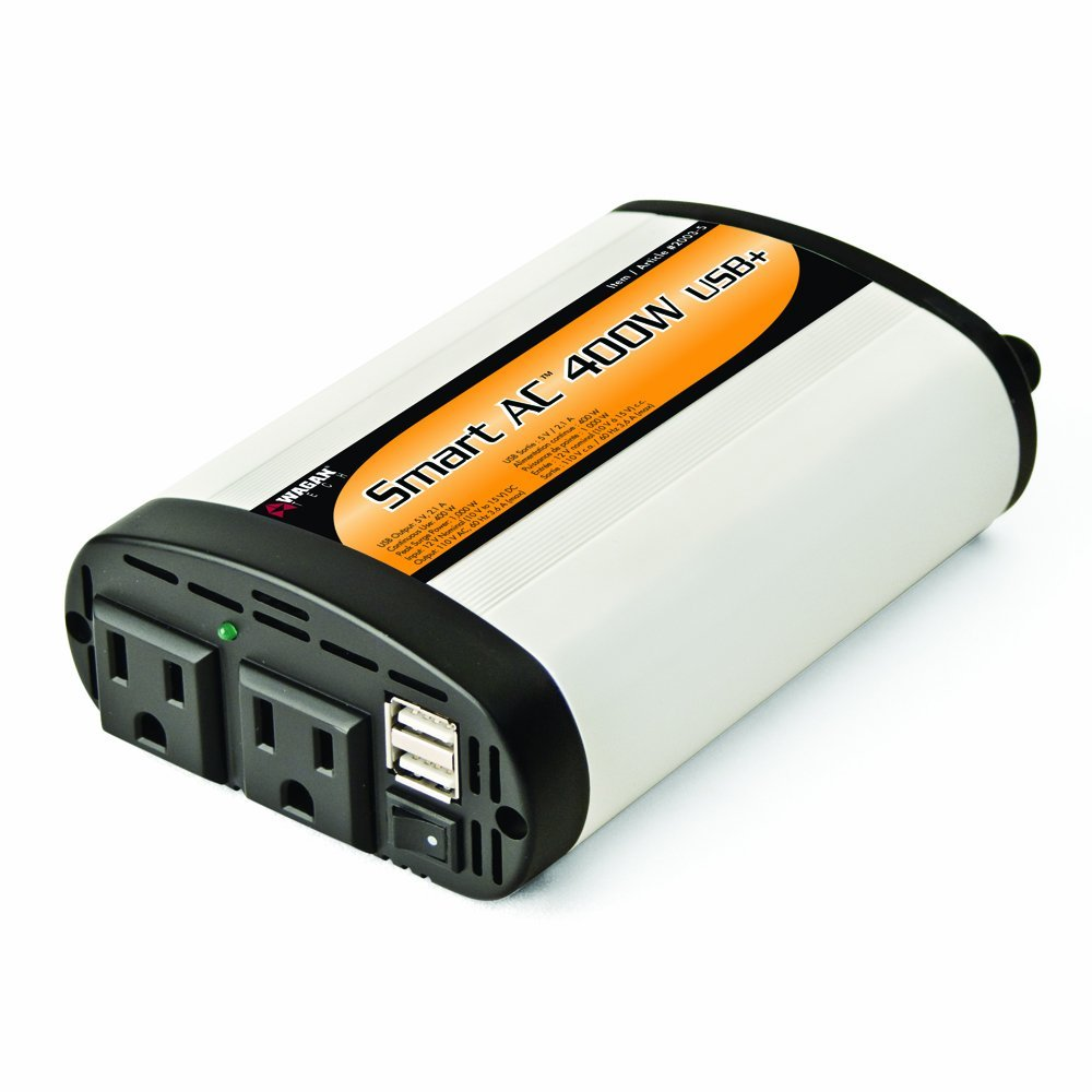 Wagan EL2003-5 400 Watt Continuous Power Inverter with 5V 2.1 Amp USB Charging Ports