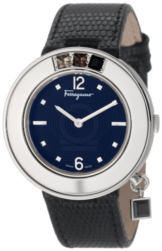 Salvatore Ferragamo Women's F64SBQ9709 S009 Gancino Sparkling Black Genuine Leather with Stones Watch The price is $689.99.
