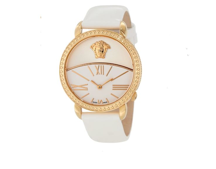 Versace Women's 93Q80D002 S001 Krios White Enamel and Sunray Dial Patent Leather Watch The price is $824.99.