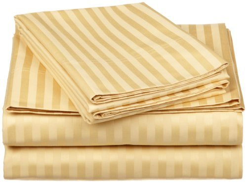 Egyptian Cotton 650 Thread Count Oversized California King Sheet Set Stripe, Gold The price is $74.99.