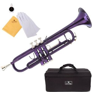 Cecilio 2Series TT-280PL Purple Lacquer Brass B Flat Trumpet   Hard Case, Mouthpiece and Accessories