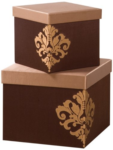 Sandy Wilson Fusion 2-Piece Set Square Embroidered Box, 10-2/3 by 10-2/3 by 8-2/3-Inch