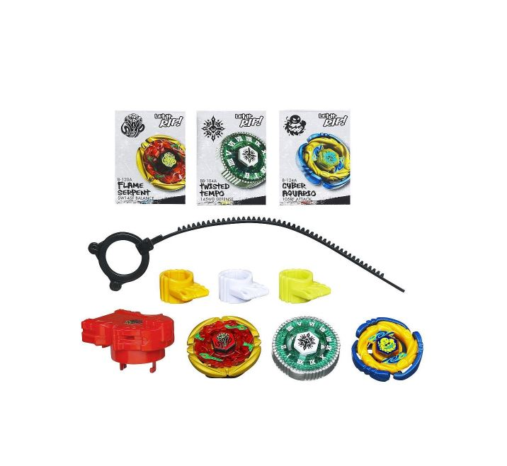 Beyblades Metal Masters Exclusive Battle Top 3Pack Cyber Aquario, Flame Serpent Twisted Tempo
