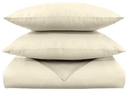 Veratex Supreme Sateen 300 Thread Count 100-Percent Egyptian Cotton Duvet and Sham Set, Ivory, Twin
