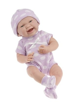 JC Toys 15' La Newborn Purple Polka Dot Onesie