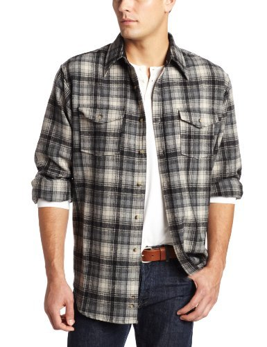 Pendleton Men's Long Sleeve Outdoor Shirt, Black/Beige Plaid, Large