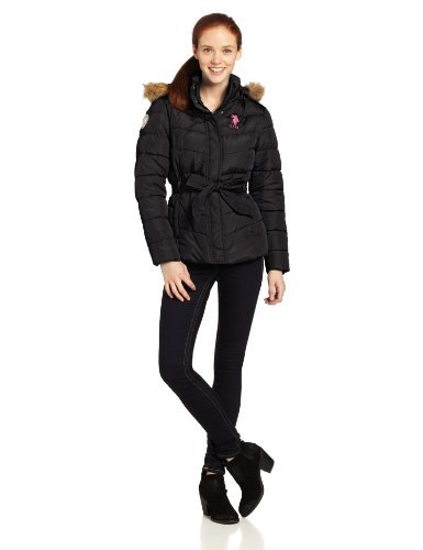 U.S. Polo Assn. Women's Belted Puffer Jacket with Removable Faux Fur Hood, Black, X-Large