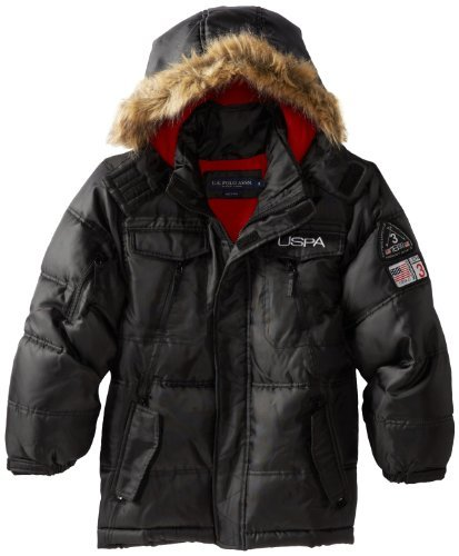 U.S. Polo Association Boys 8-20 Parka with Faux Fur Trim Hood, Black, 8