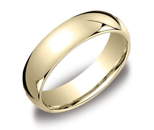 Men's 6mm 10k Yellow Gold Comfort Fit Plain Wedding Band Size 10.5