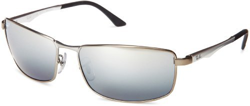 Ray-Ban 0RB3498 029/82 Polarized Rectangular Sunglasses,Matte Gunmetal,64 mm