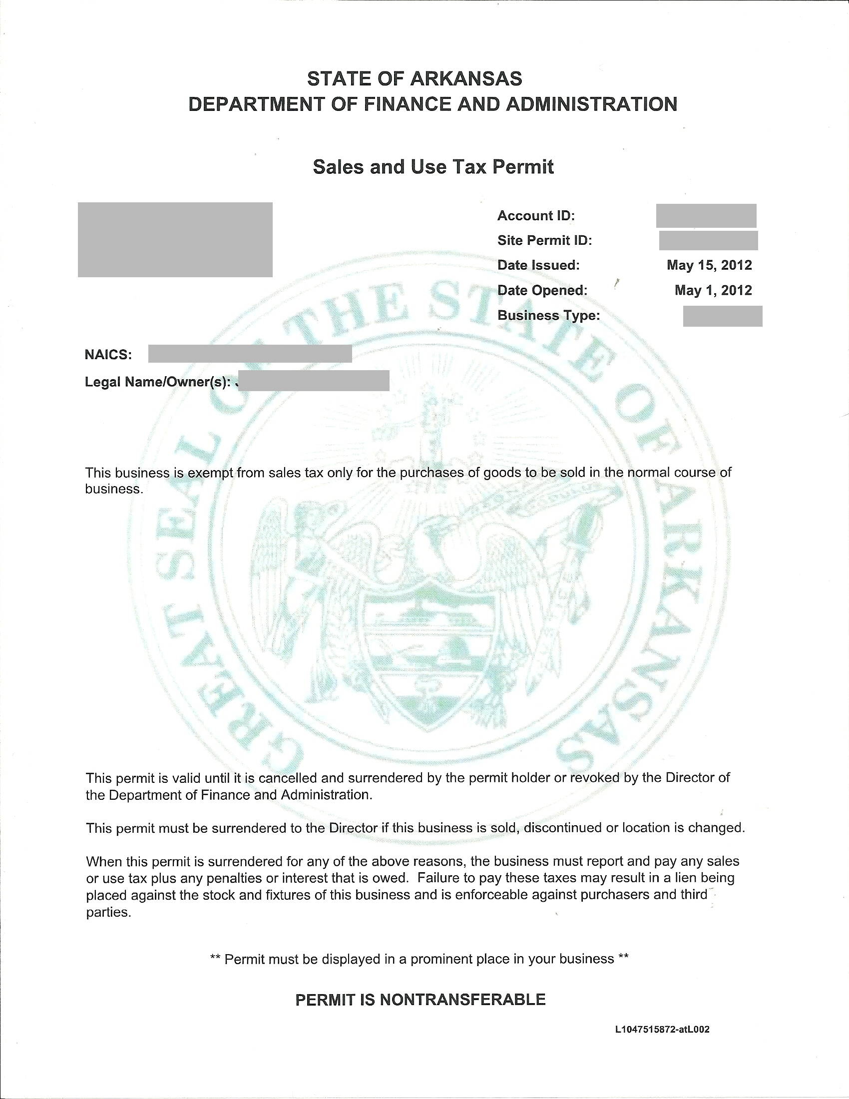 Florida Sales Tax Exemption Certificate