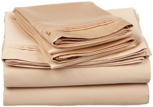 Egyptian Cotton 650 Thread Count Oversized California King Sheet Set Stripe, Beige The price is $74.99.