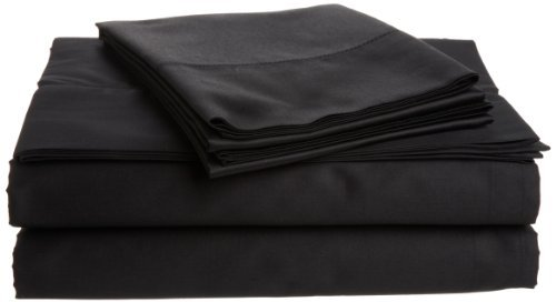 Tuscany Fine Italian Linens Milange 300 Thread Count Egyptian Cotton Sateen Queen Sheet Set, Black The price is $249.99.